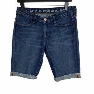 Earnest Sewn   Dark Wash Bermuda Shorts